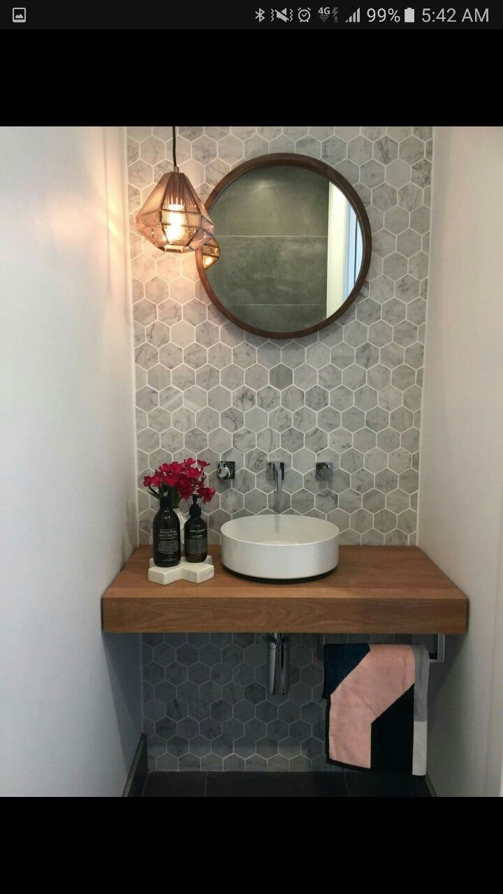 Fresh Modern Powder Room Reveal Keys To Inspiration: What About This Hexagon Shape In White For The Tub? Design