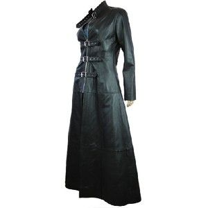 Women's Long Leather Gothic Coat in Black | Cheap | Online | UK ...