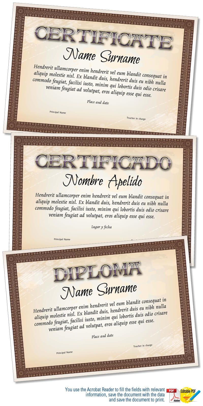 Diploma Or Certificate Template In Adobe Illustrator File And