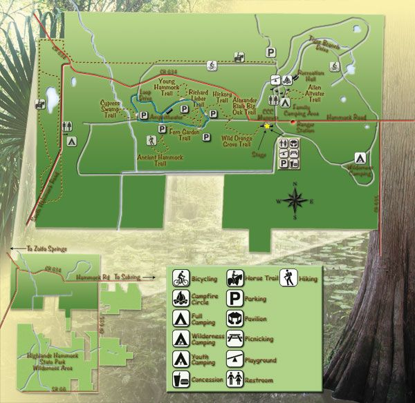 Map Of Florida State Parks Map Of Highlands Hammock State Park