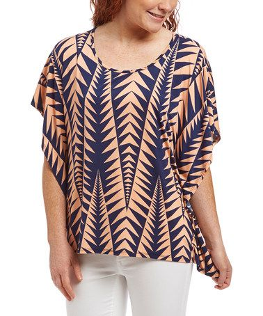 Another great find on #zulily! Peach & Navy Geometric Cape-Sleeve Top - Plus Too #zulilyfinds