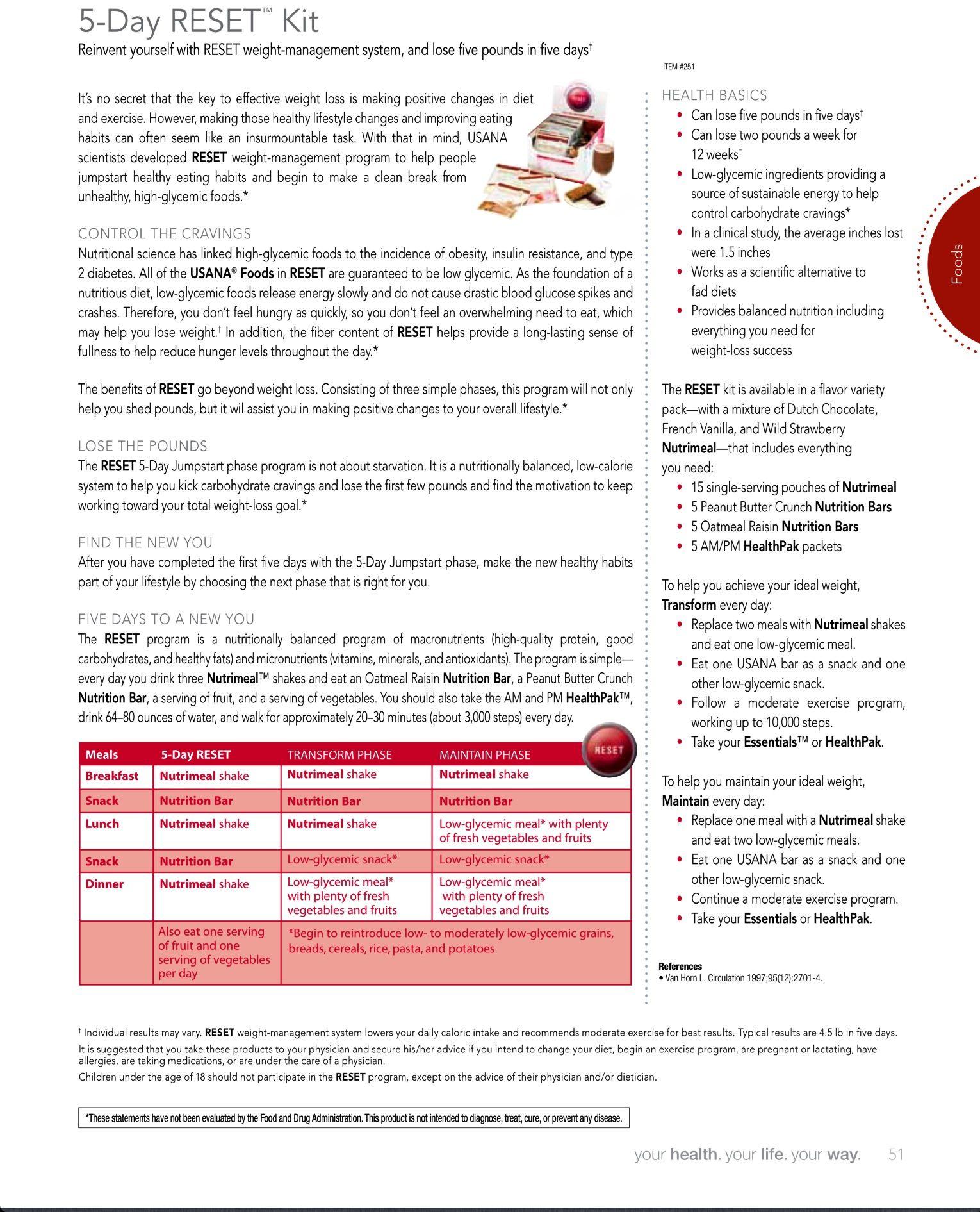 $383.94 RESET Transform Kit includes: USANA® Essentials™ Green Rev3 energy Surge Pack (