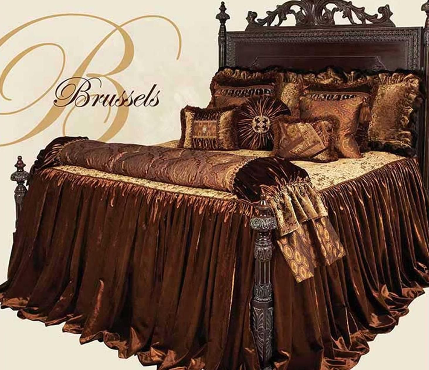Brussels Luxury Bedding Collection Designed In Gold Toned Cut Velvet