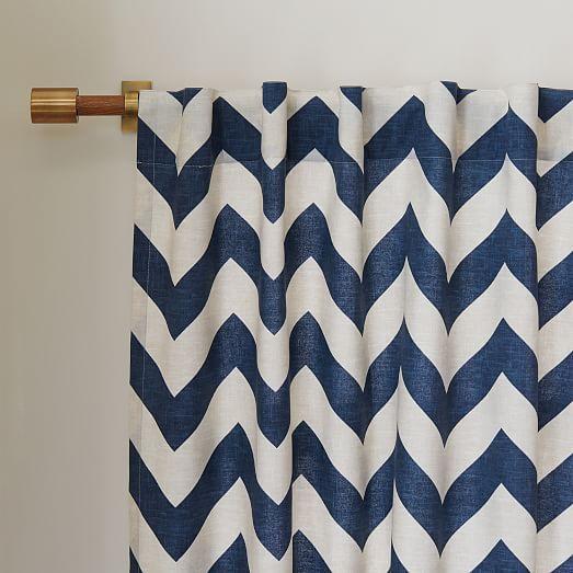 Cotton Canvas Zigzag Curtain Blue Lagoon Curtains Chevron Curtains Cotton Curtains