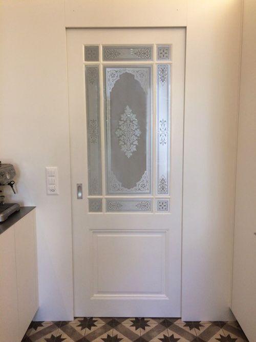 Wooden rung door with muslin glass