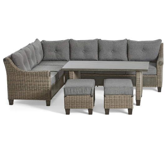 Broyhill Patio 5 Piece Cushioned Sectional All Weather Wicker Set Big Lots In 2020 Big Lots Patio Furniture Patio Furniture Collection Wicker Patio Furniture