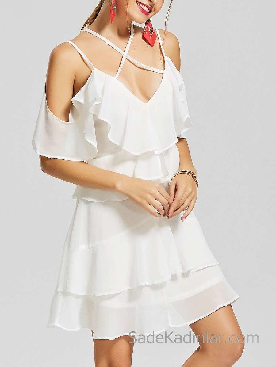 2018 Sifon Elbise Modelleri Beyaz Kisa Capraz Askili V Yaka Firfirli Sifon Elbise Elbise Modelleri Elbise