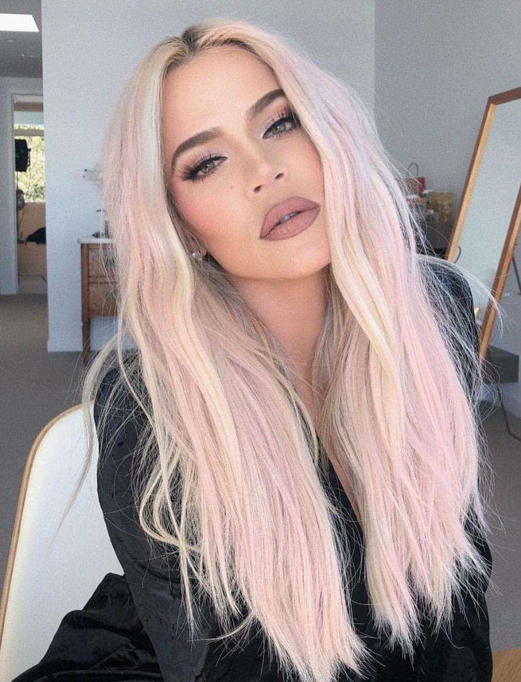 Khloe Kardashian Platinum Blonde Pastel Pink Hair Color