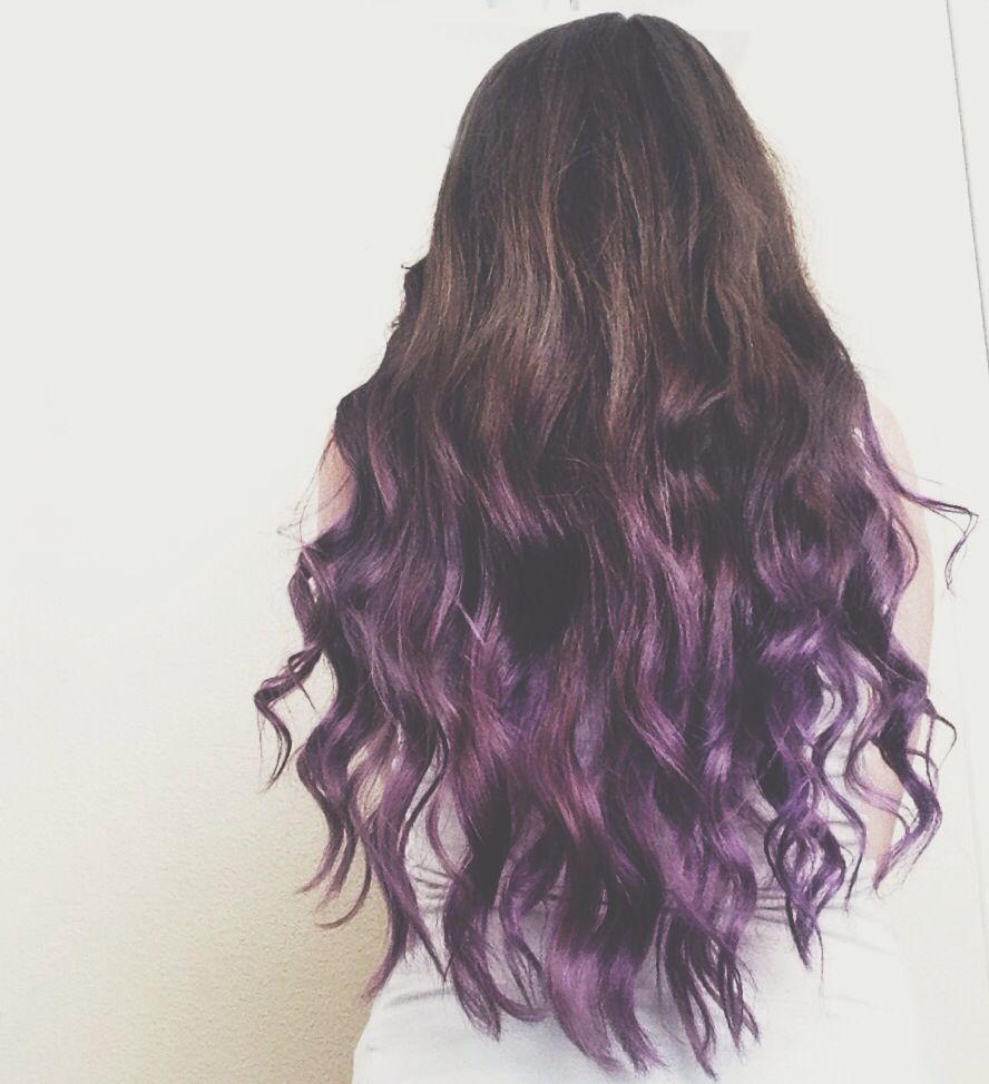 Dark brown hair with purple dip dye