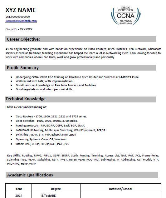 CCNA Resume Smaple 1 assa Pinterest Sample resume