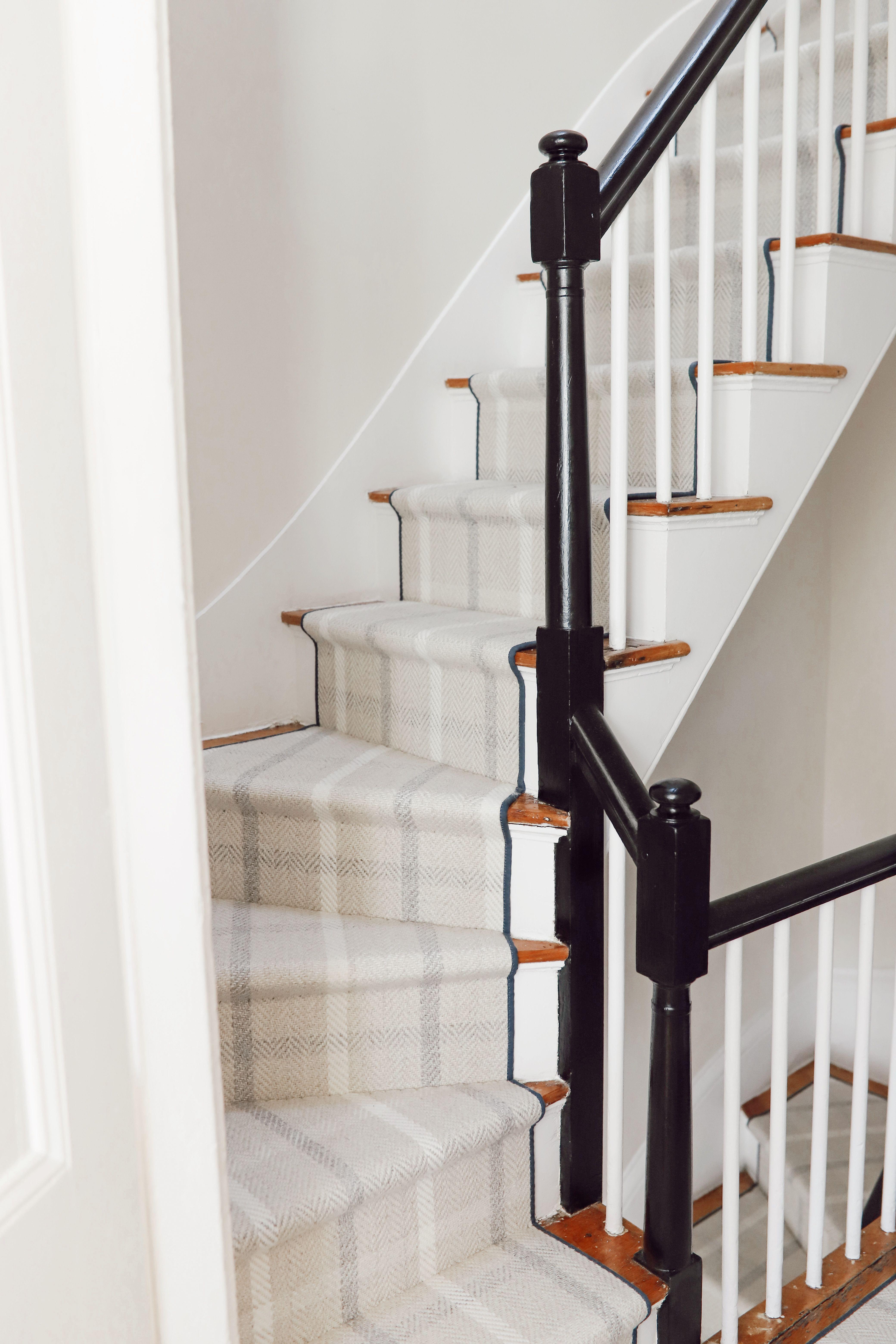 Neutral Plaid Stair Runner In 2021 Stair Runner Carpet Patterned Stair Carpet Carpet Stairs