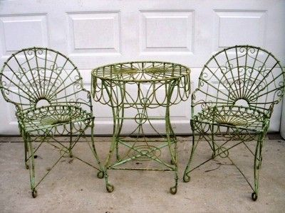 Wrought Iron Antique Look Table 2 Chairs Set Patio Furniture To Last Ebay