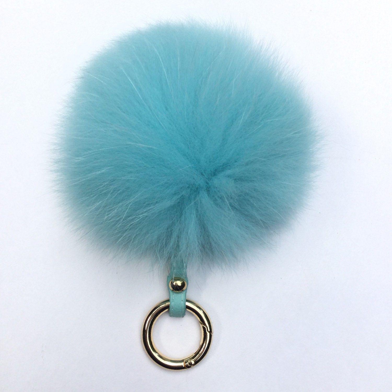 Fur bag charm fur pom pom keychain fur ballkeyring purse pendant in neon blue