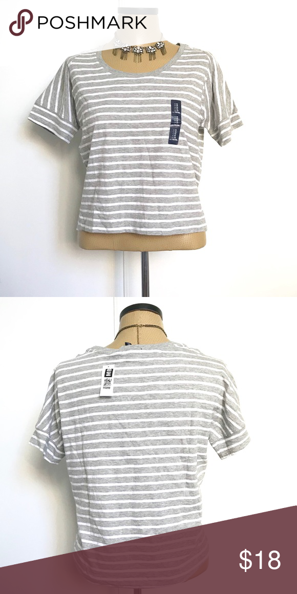 """ff0a87bdeb0b6 GAP gray and white striped slightly cropped top Adorable white and gray striped  GAP slightly cropped top tshirt. 100% cotton. Length  22"""" GAP Tops Crop Tops"""