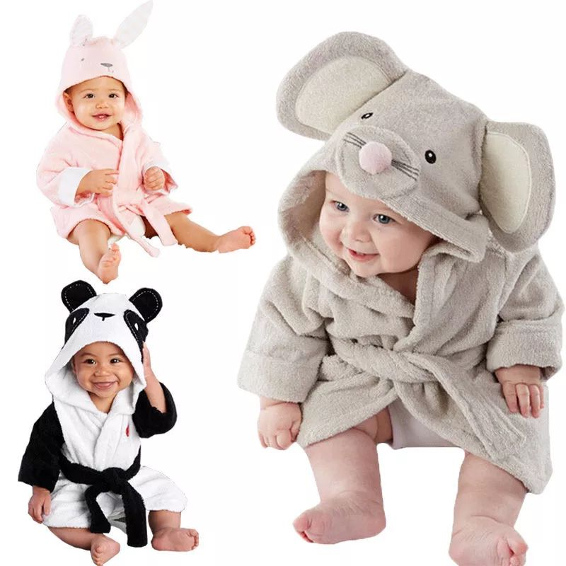 Frugal Children Hooded Bathrobe Kids Boys Girls Cotton Lovely Bath Robes Dressing Gown Kids Homewear Sleepwear With Belts Summer Men's Sleep & Lounge Robes