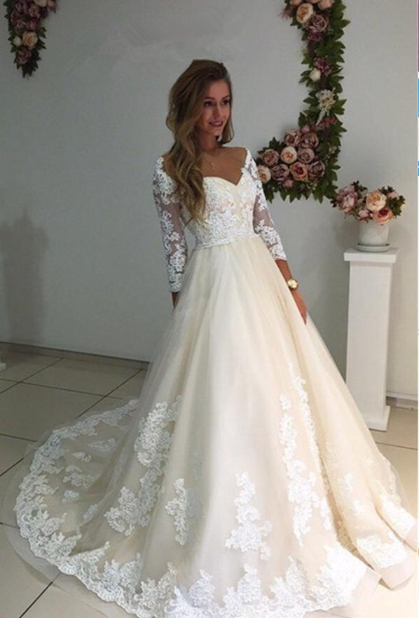 1ad905d7e9e69 Backless Appliques Lace Long A-Line Sleeves Ivory Tulle Wedding Dresses -  Thumbnail 1