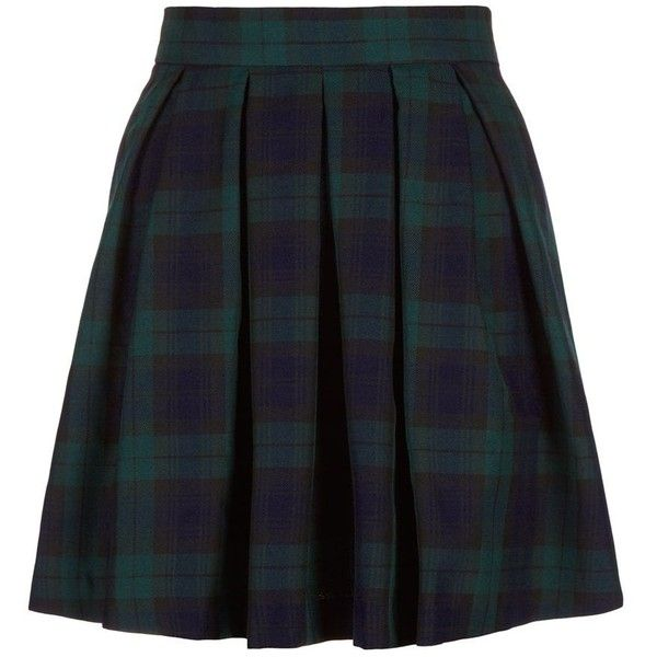 Blue and Green Check Skater Skirt ($5.20) ❤ liked on Polyvore featuring skirts, bottoms, uniform, blue pattern, blue skirt, checkered skirt, blue knee length skirt, print skater skirt and blue green skirt