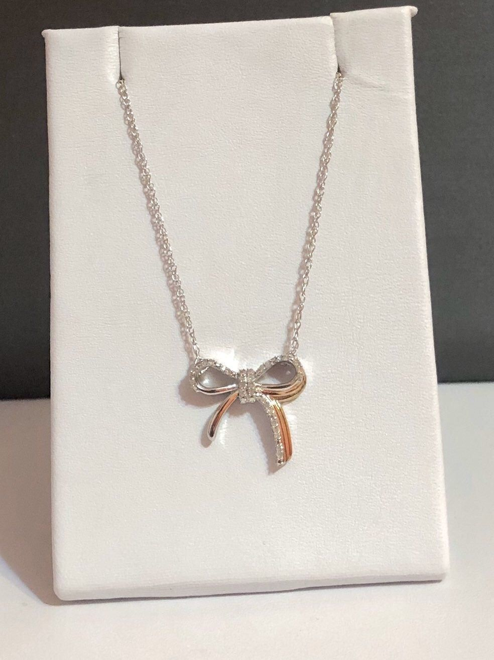 Nwot 22ctw Genuine Diamond Sterling Silver 18 Necklace Adorable Diamond Bow Necklace With A Small Accent Of 14 Kay Jewelers Necklaces Bow Necklace Necklace