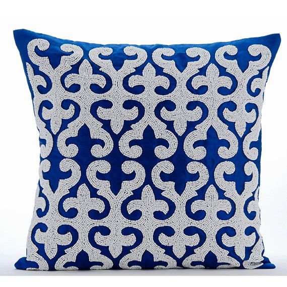 16 X16 Decorative Royal Blue Pillow For Sofa Art Silk Sofa Cushion Cover Mother Of Pearl Toss Pillows Damask Modern Style Blue Royale Blue Throw Pillows Throw Pillows Pillow Covers