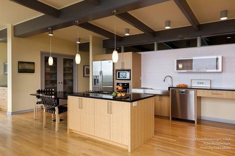 Many universal design accessible features in this home and kitchen including multiple height for Universal design features in homes