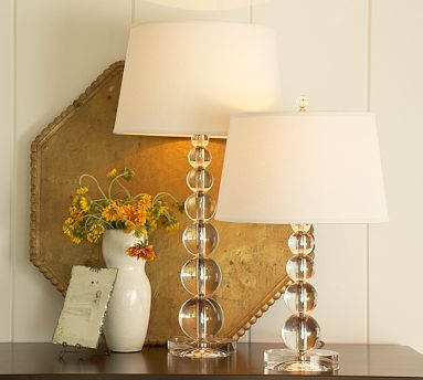 I love the glass lamp placed on the wooden chest best of both love the stacked crystal lamps saw similar one at tjmaxx mozeypictures Choice Image