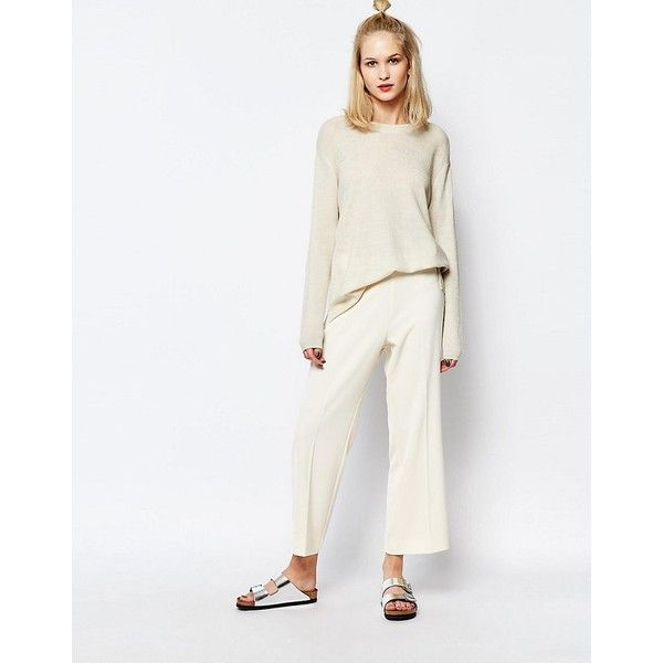 Samsoe & Samsoe Baya Cropped Pants with Pleat Front ($170) ❤ liked on Polyvore featuring pants, capris, cream, wide leg pants, white pants, tall pants, woven pants and pleated front pants