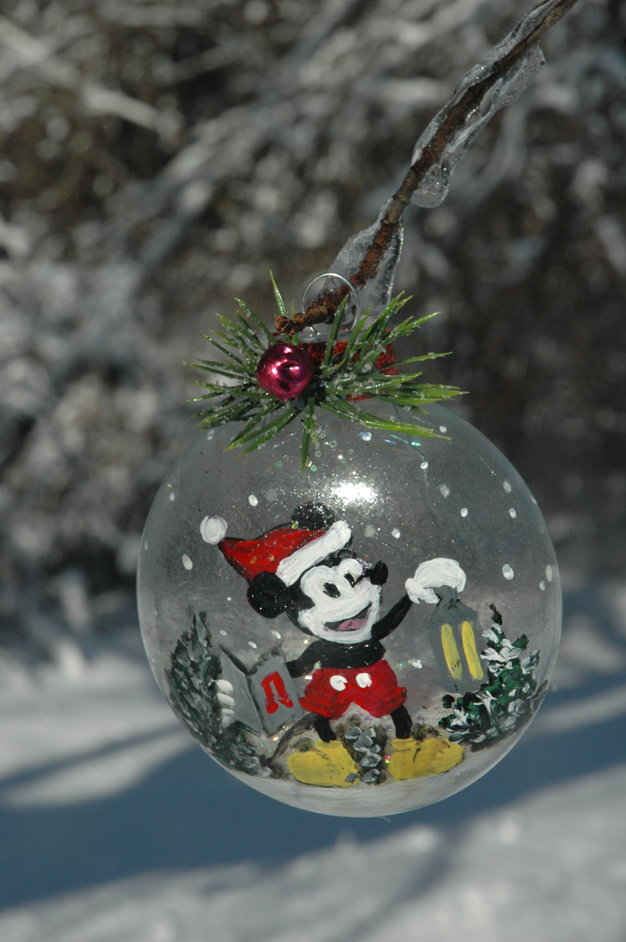 Hand painted ornament I did this week with vintage Mickey