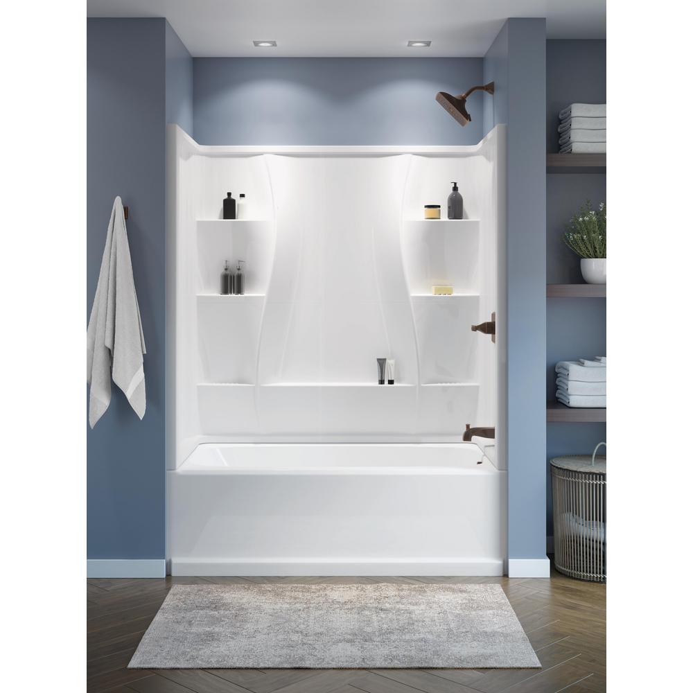 Delta Classic 400 32 In X 60 In X 60 In 3 Piece Direct To Stud Alcove Surround High Gloss In White 40044 The Home Depot Small Bathroom Remodel Bathrooms Remodel Small Bathroom