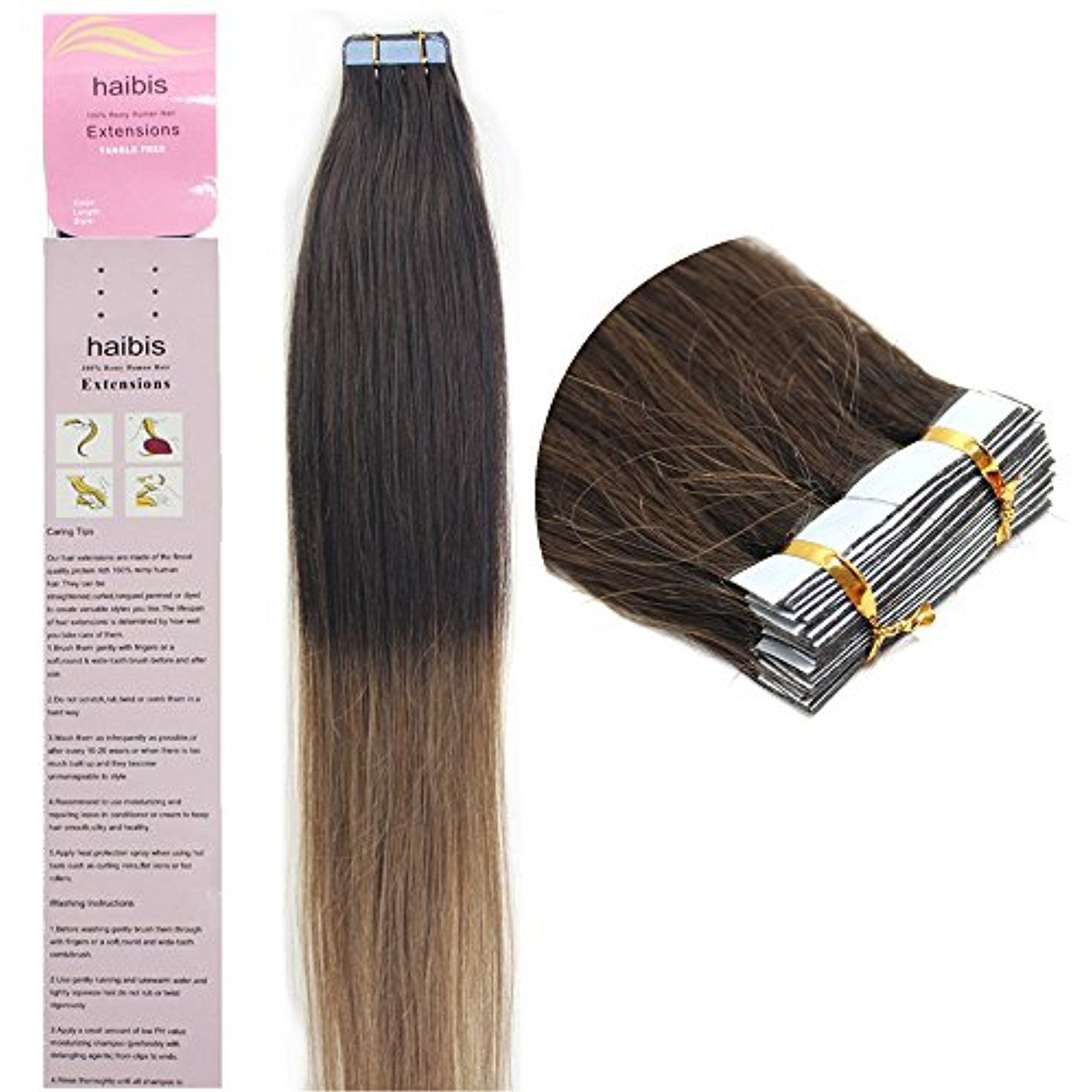 Haibis 16 24tape In Remy Human Hair Extensions Straight Skin