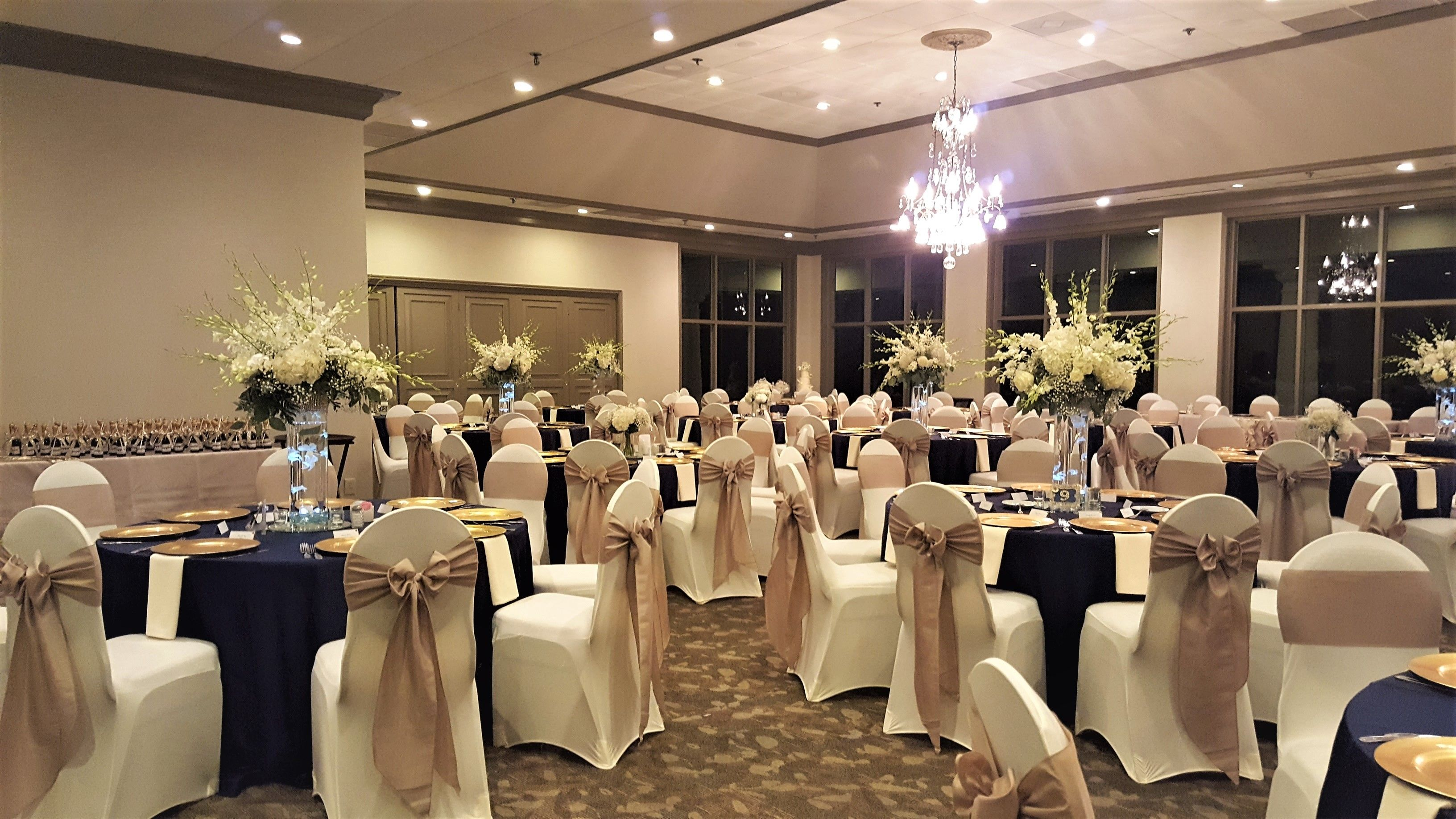 ivory chair covers with gold sash for headrest wedding reception spandex