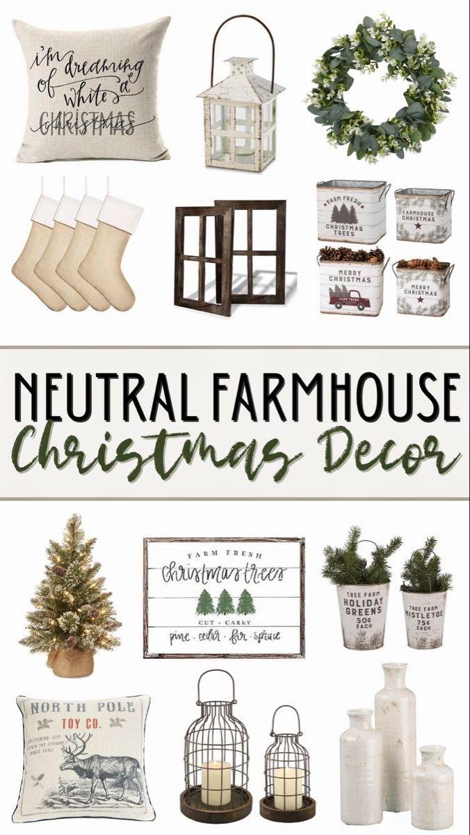 Affordable Neutral Farmhouse Christmas Decor from