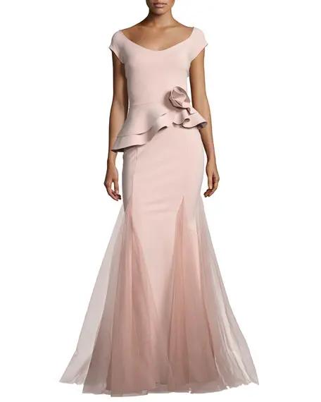 Chiara Boni La Petite Robe Lady Cap Sleeve Peplum Mermaid Gown Pink Peplum Dress Peplum Gown Evening Gowns