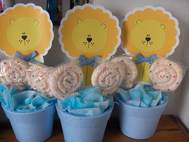 Centros De Mesa De León Y Paletas Dulces | Manualidades Para Baby Shower
