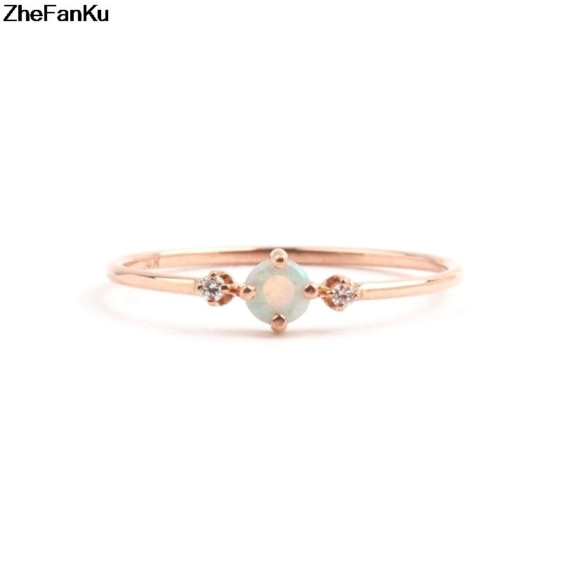 1 pcs simple pink fire opal rings trendy engagement wedding jewelry