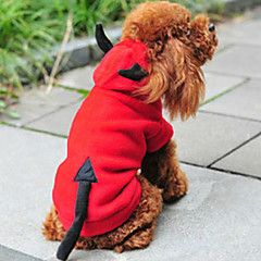 Cat Dog Costume Hoodie Red Dog Clothes Winter Spring Fall