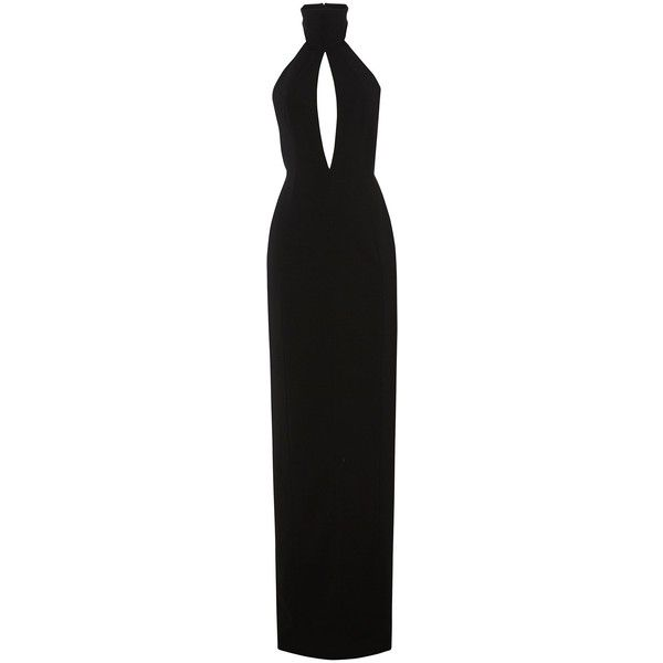 Richie Black Halterneck Maxi Dress (435 BRL) ❤ liked on Polyvore featuring dresses, gowns, long dresses, low back maxi dress, halter top, fitted maxi dresses, long maxi dresses and maxi dresses