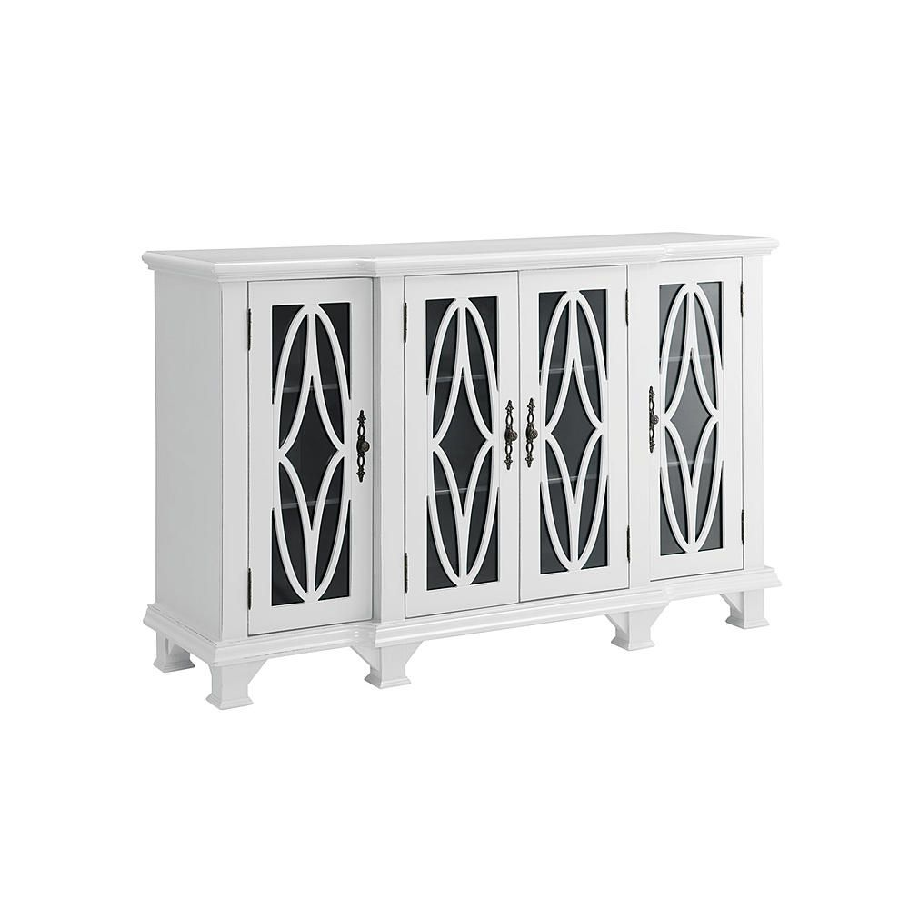 Finished In White This Accent Cabinet Features Four Doors With