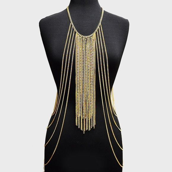 """Elaborate Fringe Necklace Body Chain Style No : [257695] • Color : Gold, Clear  • Necklace Size : 18"""" + 4"""" L • Charm Size : 19"""" L • Elaborate Fringe Necklace Body Chain Jewelry Necklaces"""