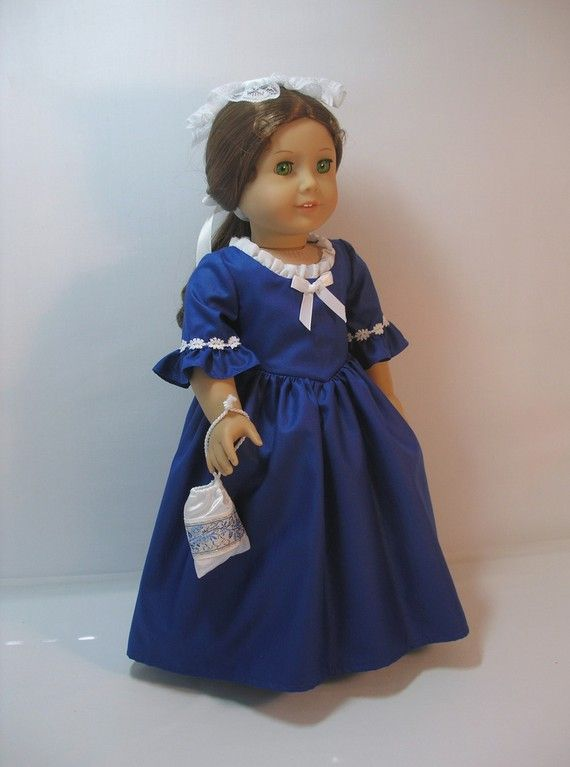 1774-301 Dark Blue Colonial Gown for 18 Inch Doll by terristouch