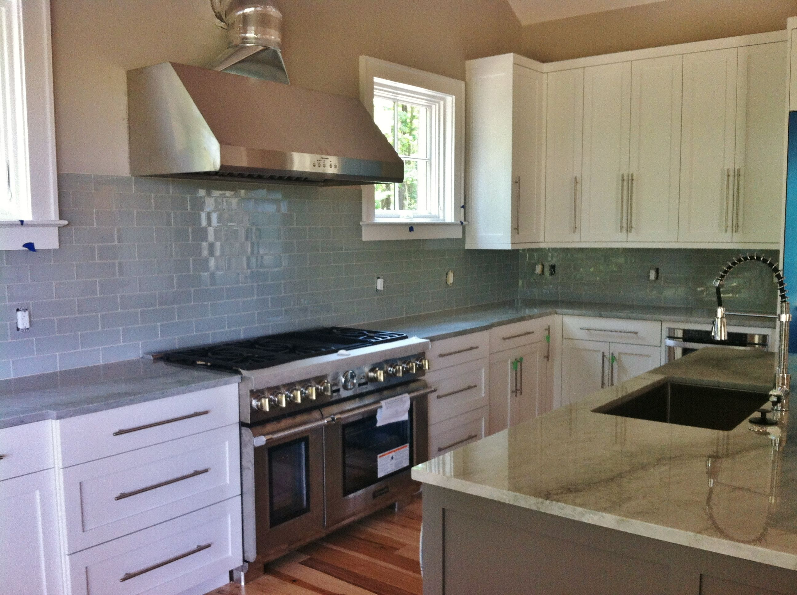 3x8 Frost Glass Tile At Kitchen And Butler S Pantry Backsplashes