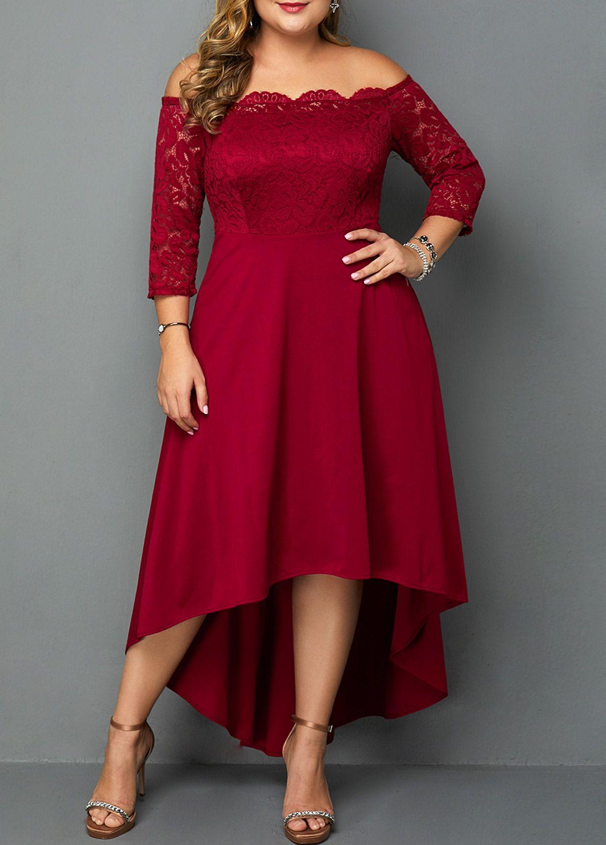Plus Size Lace Panel Off The Shoulder High Low Dress Rotita Com Usd 33 43 Plus Size Fall Fashion Plus Size Cocktail Dresses Plus Size Formal Dresses [ 1674 x 1200 Pixel ]