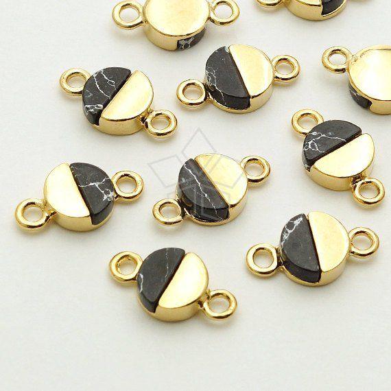 b983b4b8f9a37 PD-1428-GD / 2 Pcs - Gemstone Metal Mix Pendant, Black Howlite Half ...