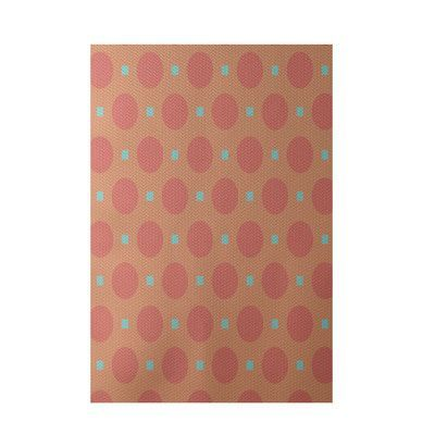 e by design Geometric Coral Indoor/Outdoor Area Rug Rug Size: