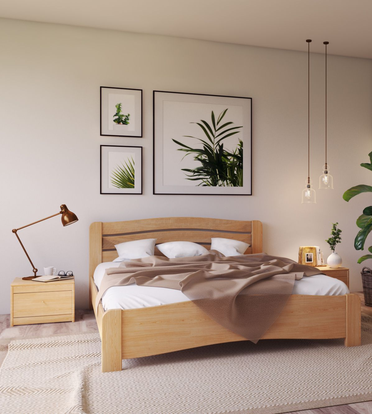 Light bedroom with wooden beech bed and wooden bedside