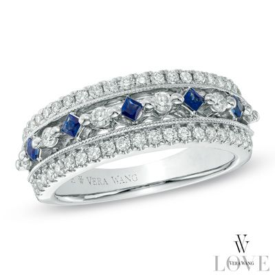 Vera Wang Love Collection 1 2 Ct T W Diamond And Blue Sapphire