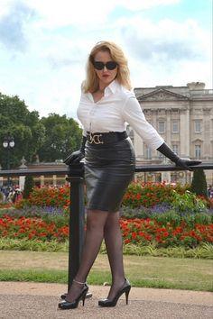 Black Leather Skirt White Blouse Black Leather Gloves Black Belt ...