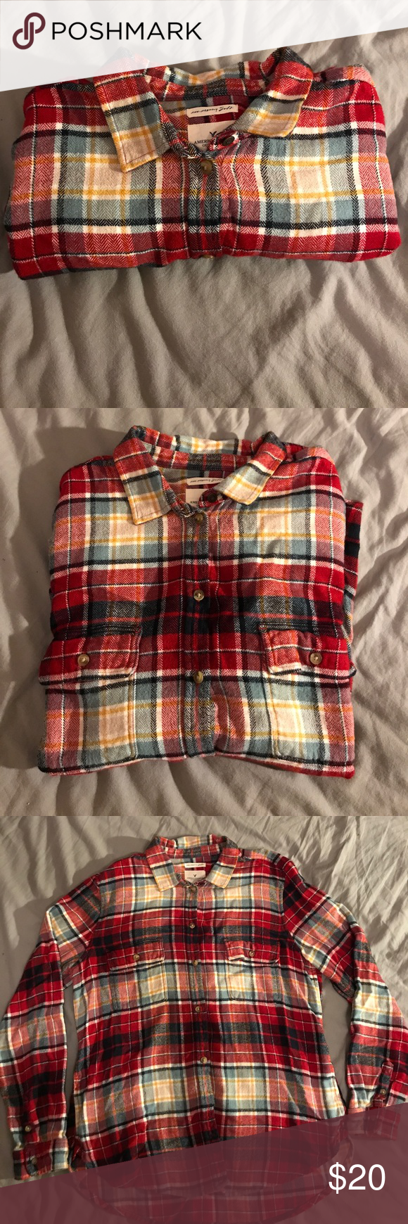 Navy blue flannel shirt womens  American Eagle flannel  Flannels Houndstooth and Eagle