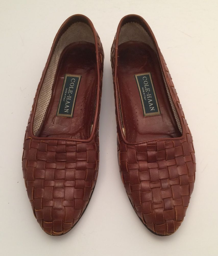 190329062cefa Womens Cole Haan Italian Brown Woven Leather Dunbar Size 7 AA Loafer ...