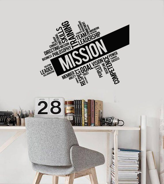 office words cloud vinyl wall decal mission inspirational decor