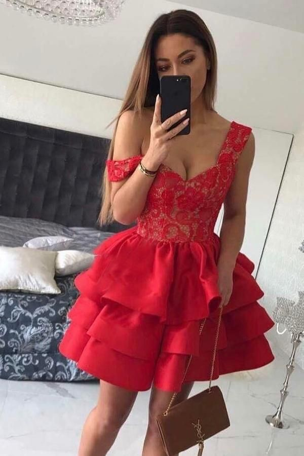 f5f94818a39 A-Line Straps Short Red Satin Sweetheart Sleeveless Cute Graduation Homecoming  Dress PM230